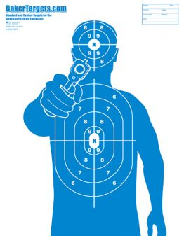 man with gun target-blue