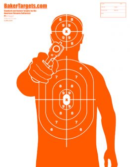 man with gun target-orange