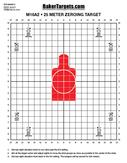 25 meter sighting target - with red