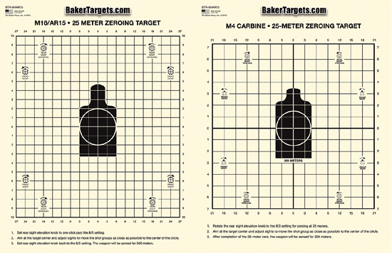 2-Sided 25 Meter M16A2/M4 Zeroing Target